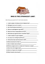 English Worksheets: Who is the strongest link?:-)