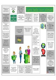 English Worksheets: let�s help the planet board game