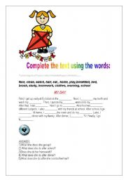 English Worksheet: ROUTINES - SIMPLE PRESENT