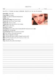 English Worksheets: writing a text about Angelina Jolie