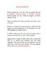 English Worksheets: who are the British?