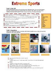 English Worksheet: Extreme Sports