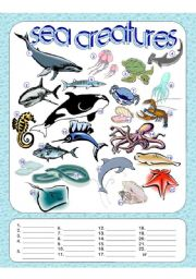 English Worksheets: Sea Creatures Fill in the Blanks