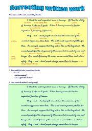 English Worksheets: Correcting Written Work