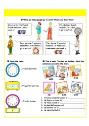 English Worksheet: Telling the time - tasks - part II