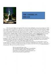 English Worksheet: the statue of liberty: the american dream