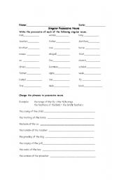Printables Singular Possessive Nouns Worksheet english teaching worksheets possessive nouns singular nouns