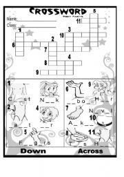 English Worksheet: Body Parts Crossword