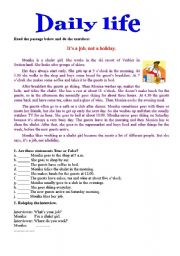 English Worksheets: daily life 2