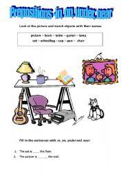 English Worksheet: prepositions - in on under near