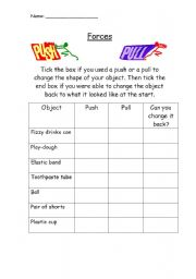 Printables Push And Pull Worksheets english worksheet pushpull forces