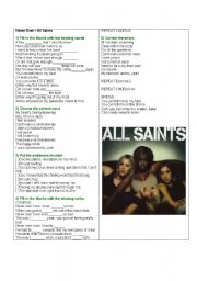 English Worksheets: Song - Never Ever by All Saints