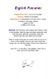 English Worksheet: Recipe for English pancakes