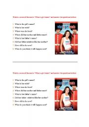 English Worksheets: Movie - What a girl wants