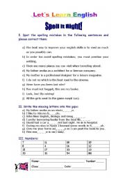English Worksheets: Spell it Right