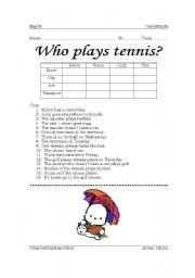 English Worksheet: Who plays tennis