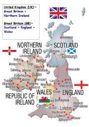 English Worksheet: british isles map