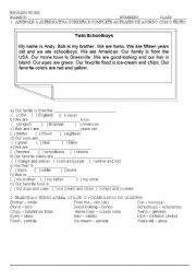 English Worksheets: Twin Schoolboys