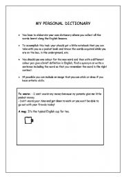 English Worksheets: Your own dictionay