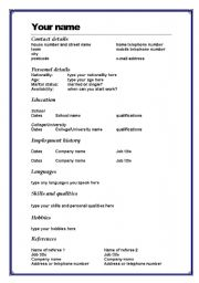English Cv Format Word This image has been removed at the request of its copyright owner. worksheets writing letters curriculum vitae cv cv template ...