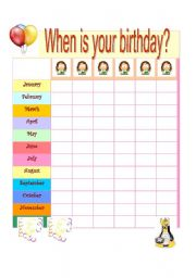 English teaching worksheets: When is your birthday?