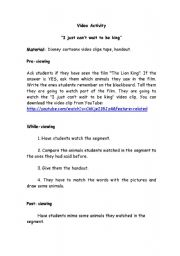 English Worksheet: video activity: The Lion King