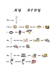 English Worksheets: THE PARTS OF MY BODY