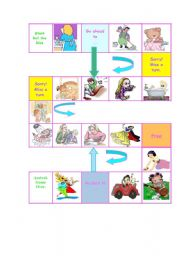 English Worksheets: Game Board for daily routine