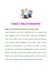English worksheets: the Family worksheets, page 88
