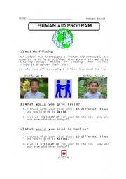 English Worksheet: Human Aid Program (indirect object)