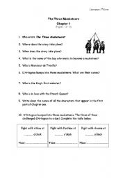 English Worksheets: The Three Musketeers Chapter 1