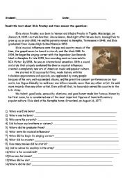 English Worksheets: Elvis�s Biography