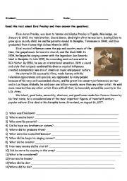 English Worksheet: Elvis´s Biography