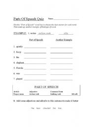 graphic regarding Part of Speech Quiz Printable referred to as English worksheets: Pieces of Speech Quiz