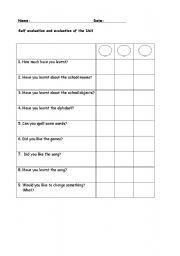 English Worksheet: self evaluation control