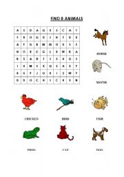 English Worksheets: Wordsearch-Animals