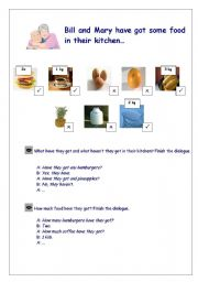 English Worksheet: �They have got some food in their kitchen...� Practising have got, some/any, there is/there are