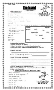The Island- Video Class- Worksheet 1 - ESL worksheet by Pacchy