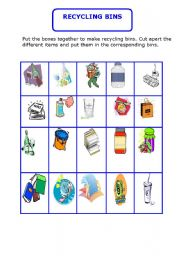 English Worksheet: Pupils learn about  recycling by playing the recyclin bin game
