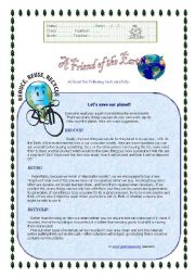 English Worksheet: A friend of Earth