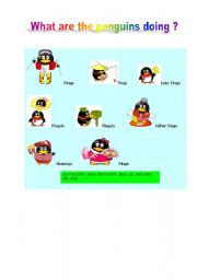 English Worksheet: what are the penguins doing ?