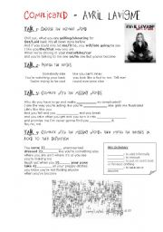 English Worksheet: Song: Complicated - Avril Lavigne