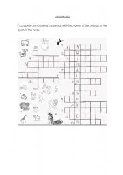 English Worksheets: Crossword! - Animals and animals body