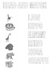English Worksheets: Animals. Read and match.