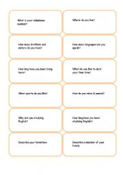 English Worksheets: questions card game