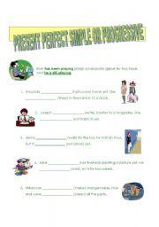 English Worksheet: Present  perfect: simple or progressive?