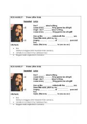 English Worksheet: Bob Marley - Three Little Birds (Listening)