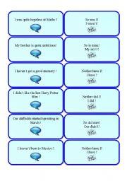 English Worksheet: So do I/neither do I, I do/I don�t (part 3 out of 3)
