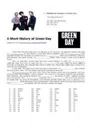 English Worksheet: A Short History of Green Day