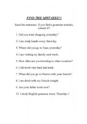 English Worksheets: Find the mistakes~